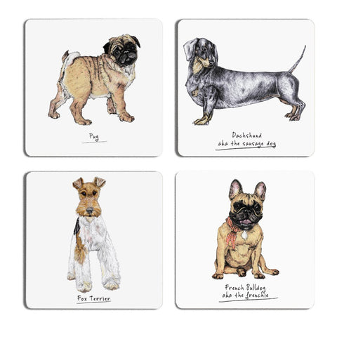 Pack of Dogs Drinks Coaster Set - Fawn and Thistle