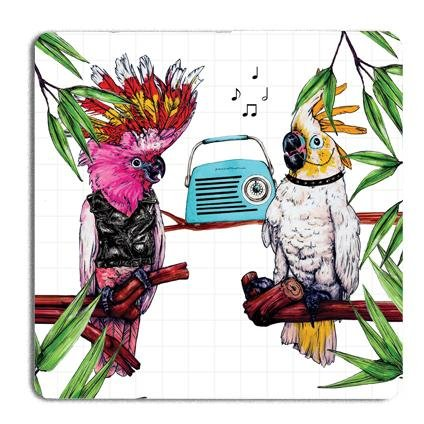Party Cockatoo Drinks Coaster - Fawn and Thistle