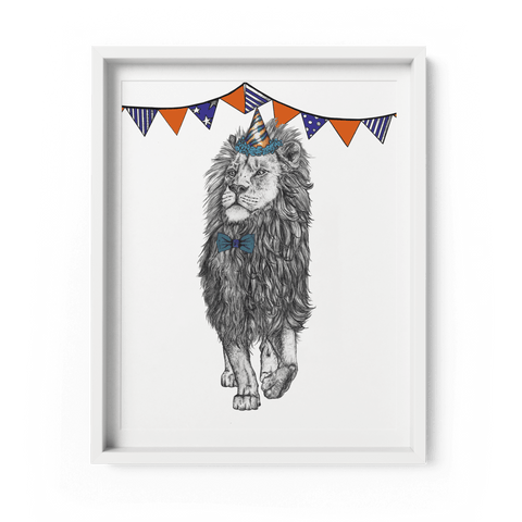 Party Lion A4 Giclee Print - Fawn and Thistle