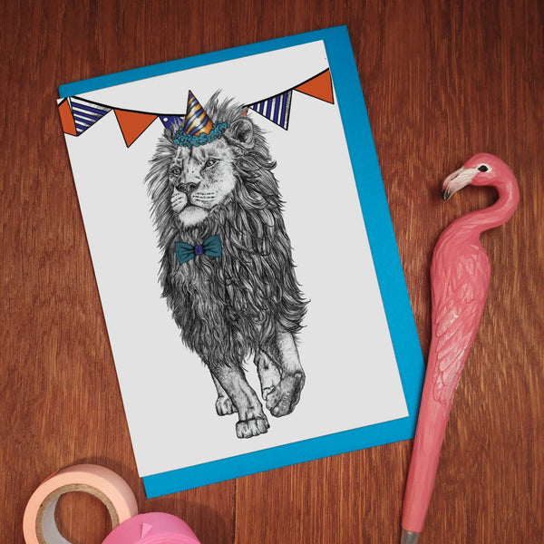 Party Lion Greetings Card - Fawn and Thistle
