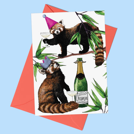 Party Red Pandas Greeting Card - Fawn and Thistle