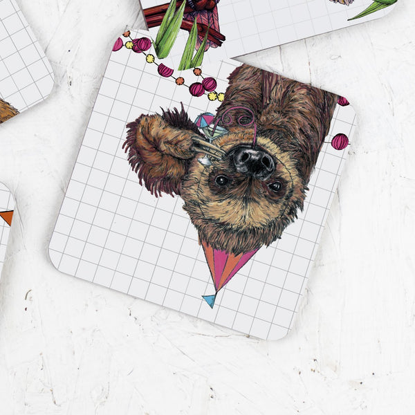 Party Sloth Drinks Coaster - Fawn and Thistle