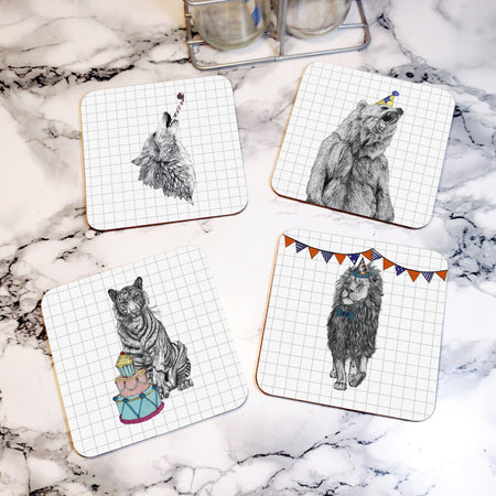 Party Wolf Drinks Coaster - Fawn and Thistle