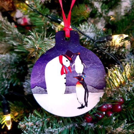 Penguins and Snowman Christmas Tree Decoration - Fawn and Thistle