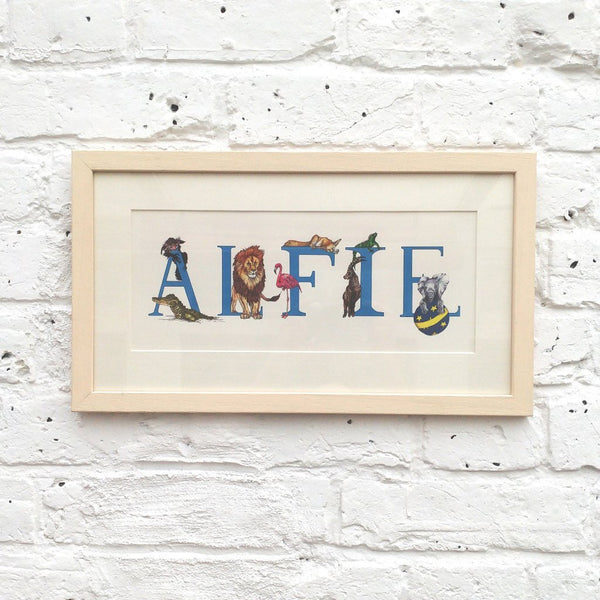 Personalised Animal ABCs Baby and Children Name Print - Fawn and Thistle