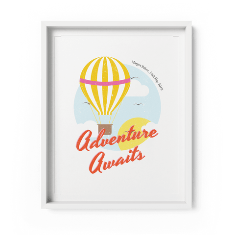 Personalised Hot Air Balloon Nursery Art Print - Fawn and Thistle