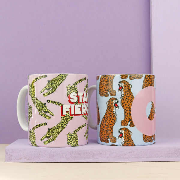 Personalised Initial Panther Print Mug - Fawn and Thistle