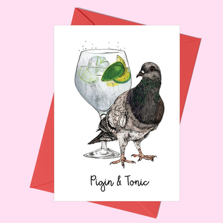 Pigin and Tonic Greeting Card - Fawn and Thistle