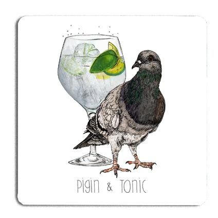 Pigin & Tonic Drinks Coaster - Fawn and Thistle