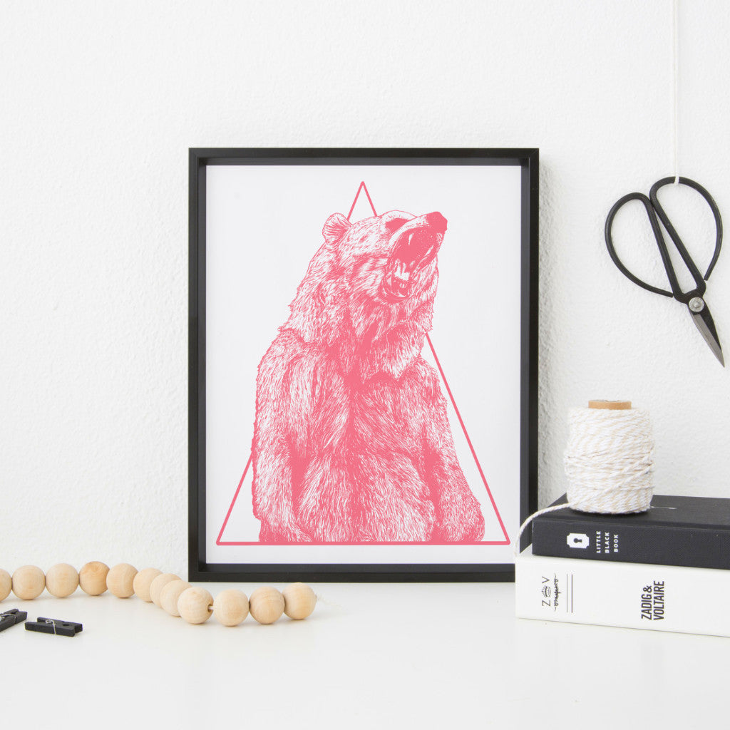 Roaring Grizzly Bear A3 Screen Print