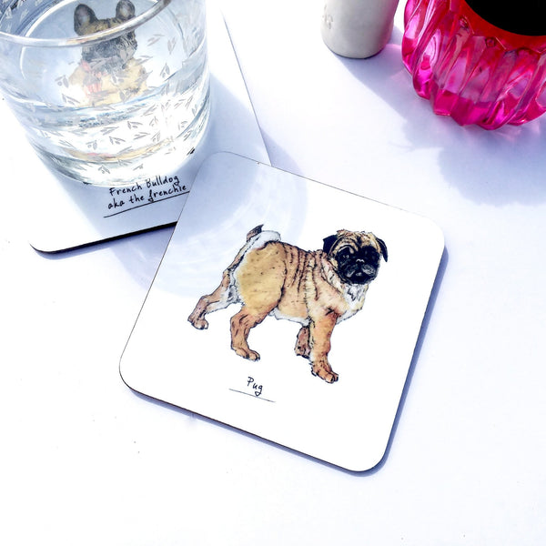 Pug Dog Drinks Coaster - Fawn and Thistle