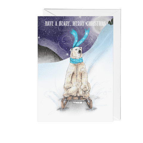 Sledding Polar Bear Winter Wonderland Christmas Card - Fawn and Thistle