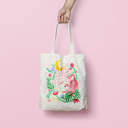 'Though She Be But Little She Is Fierce' Linen Tote Bag - Fawn and Thistle