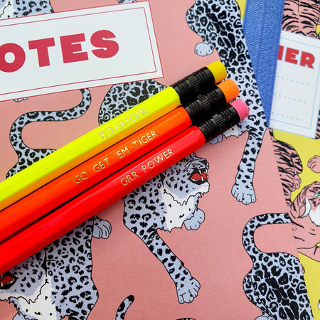 Wild Cat Positivity Neon Pencil set - Fawn and Thistle