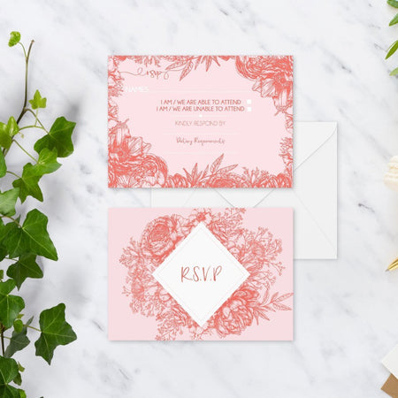 Wild Flower Peony Diy Wedding Invitation Set - Fawn and Thistle