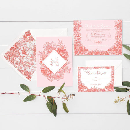 Wildflower Coral And Blush Wedding Place Cards Pack 10 - Fawn and Thistle