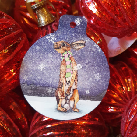 Winter Hare Christmas Tree Decoration - Fawn and Thistle