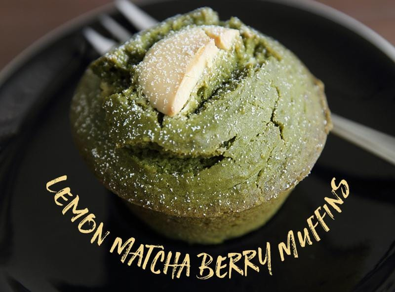 Lemon Matcha Berry Muffins
