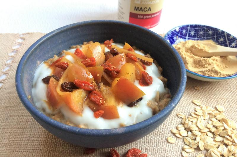 Balancing Maca Porridge with Spiced Fruit
