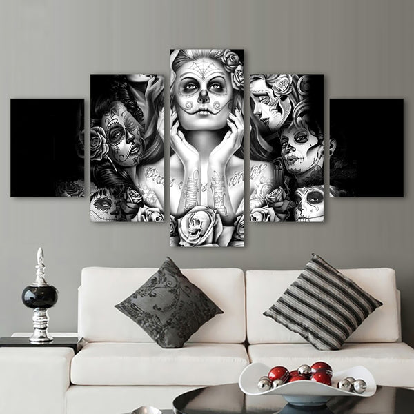 Day Of The Dead Face 5 Pcs Canvas