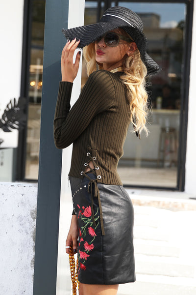 Faux Leather Floral Skirt