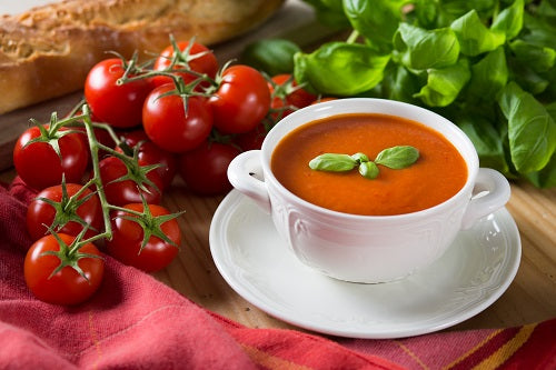 Creamy Tomato Soup with Garlic Infused Olive Oil