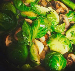 Caramelized Brussels Sprouts with Cremini Mushrooms and Pomegranate Balsamic
