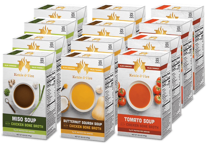 12-Pack: Healthy Soups Variety Pack (Made With Bone Broth) Soups Kettle & Fire