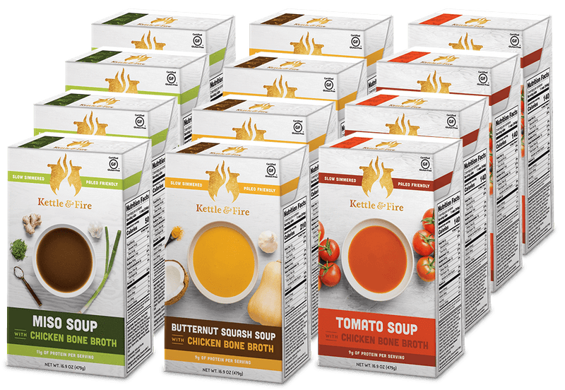 18-Pack: Healthy Soups Variety Pack (Made With Bone Broth) Soups Kettle & Fire