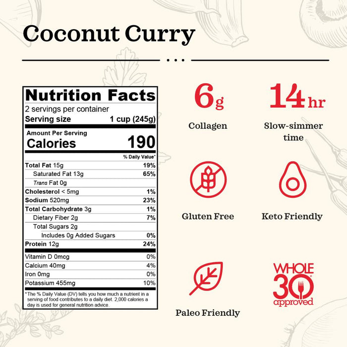 Coconut Curry & Lime Chicken Bone Broth - 16.9 oz Bone broth Kettle & Fire