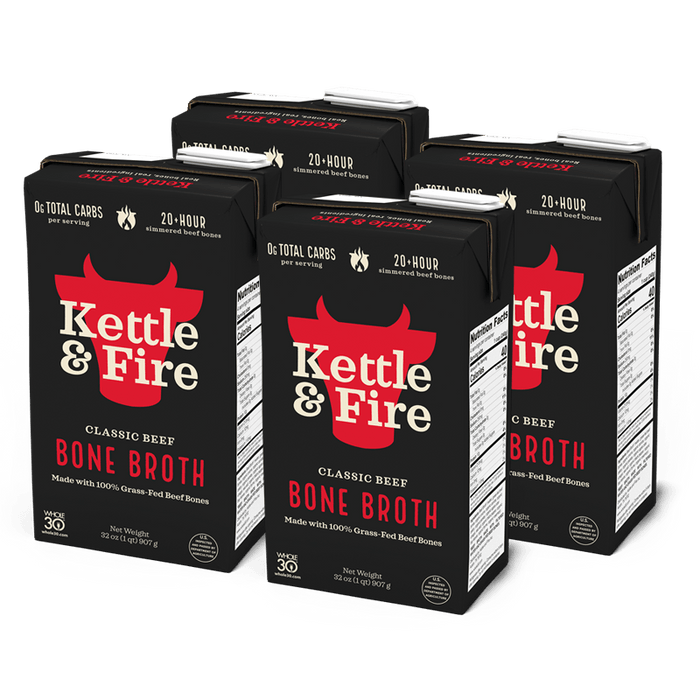 4-Pack: Beef Bone Broth - 32oz Bundle Kettle & Fire