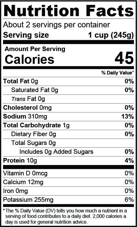 Nutrition Facts about 2 servings per container serving size 1 cup (245g), calories 45, sodium 310mg 13%, total carbohydrate 1g, protein 10g 4%, calcium 12mg, potassium 255mg 6%