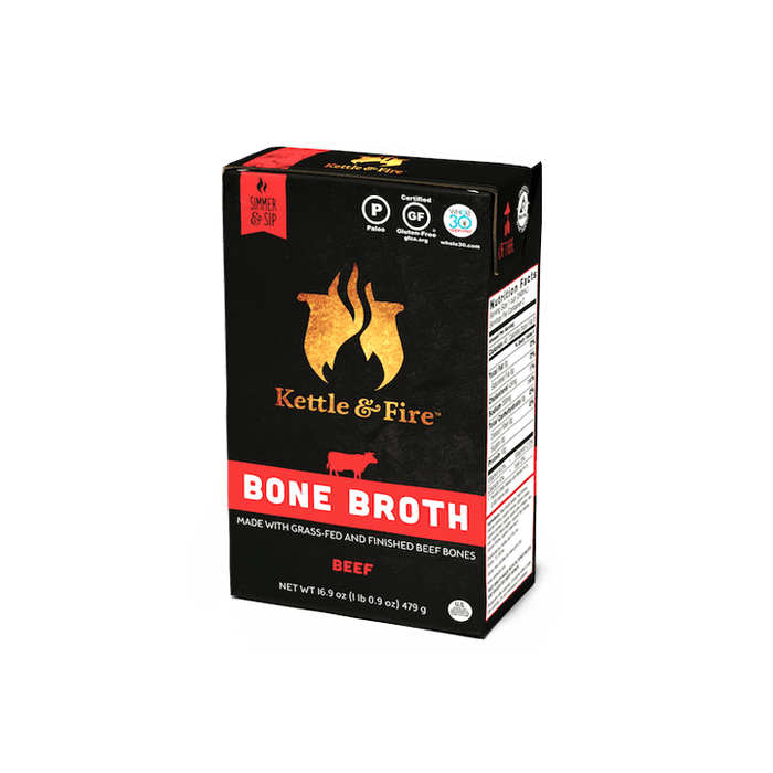 Grass-fed Beef Bone Broth: 16.9oz Bone broth Kettle & Fire