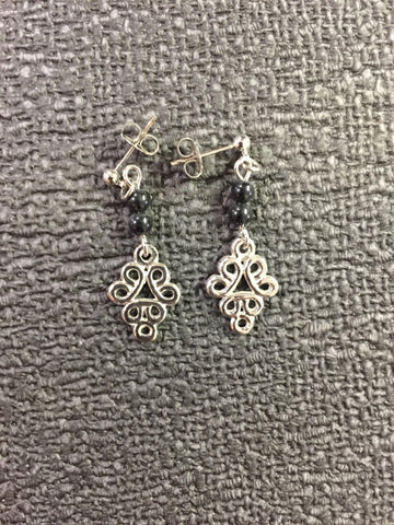 B-Fussy Black Bead Earrings