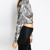 Silver Sequin Crop Top