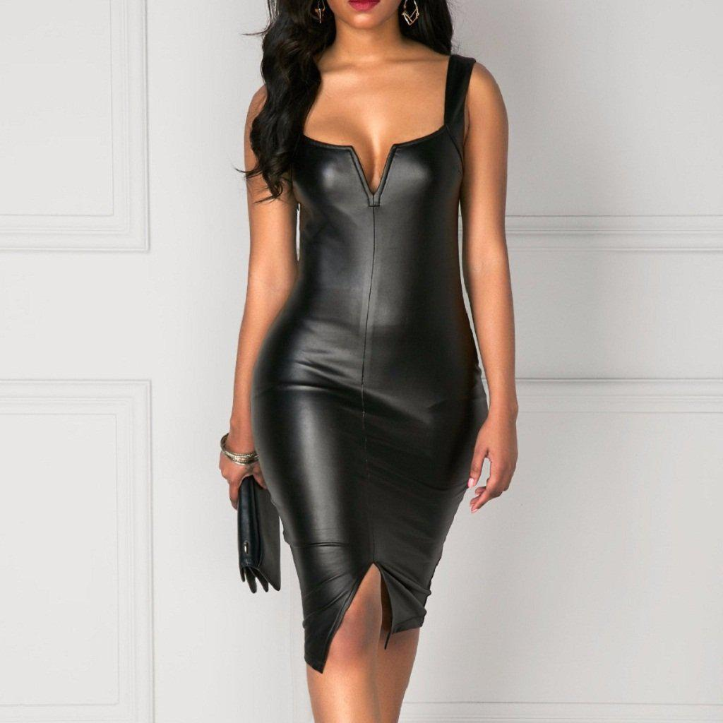 #leather Short Dress-Women's Knee Length Dresses-📸 #CrayeLabel-CrayeLabel.com