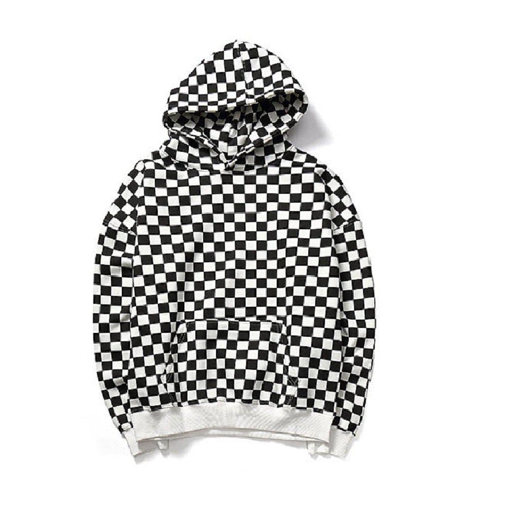 #checkered Hoodie-Men's Hoodies-📸 #CrayeLabel-Black White-L-CrayeLabel.com