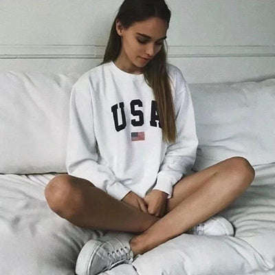#USA Printed Sweatshirt-Women's Sweatshirts-📸 #CrayeLabel-White-S-CrayeLabel.com