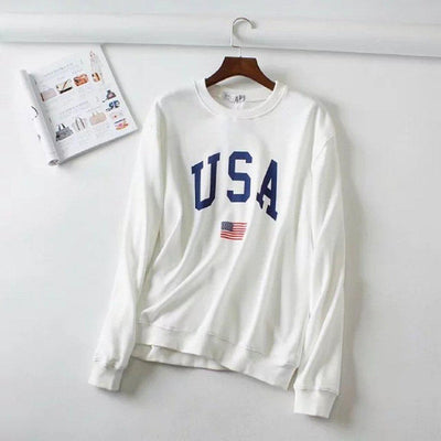 #USA Printed Sweatshirt-Women's Sweatshirts-📸 #CrayeLabel-White-M-CrayeLabel.com