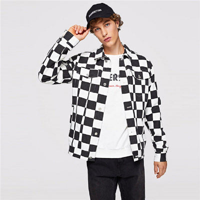 #checked Jacket-Men's Jackets & Outerwear-📸 #CrayeLabel-Black-S-CrayeLabel.com