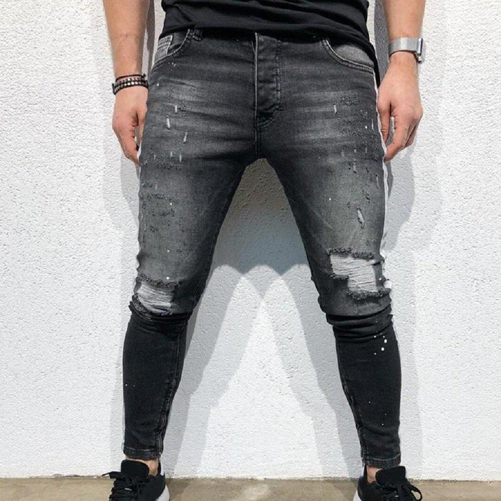 #ripped Jeans-Men's Jeans-📸 #CrayeLabel-Dark Grey-L-CrayeLabel.com
