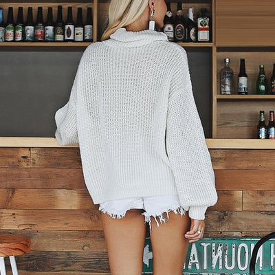 High Collar Knitted Sweater