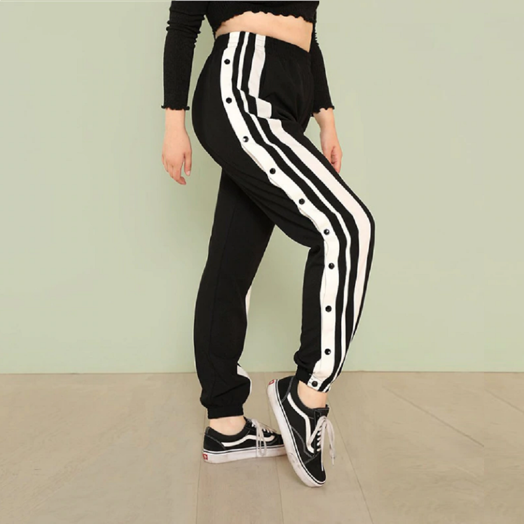 #striped Trouser-Women's Trousers-📸 #CrayeLabel-Black-L-CrayeLabel.com