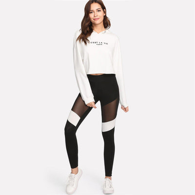 #contrastmesh Leggings-Women's Leggings-📸 #CrayeLabel-Black-XS-CrayeLabel.com