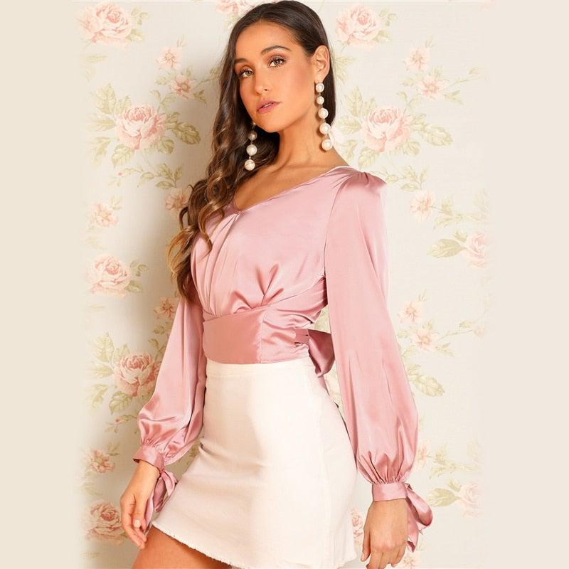 Satin Glam Crop Top Blouse