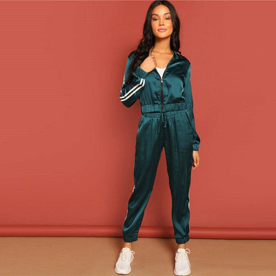 Athletic Striped Jacket And Pants Tracksuit