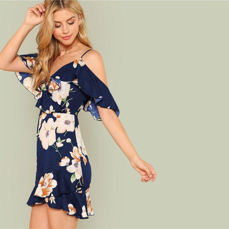 Beach Vacation Floral Mini Dress