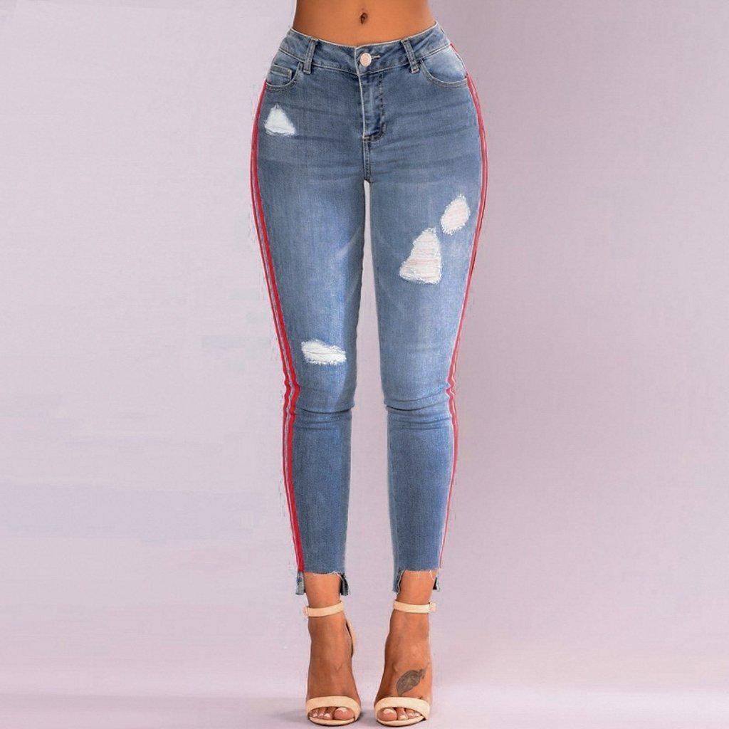 Red Stripes Patch Jeans-Women's Jeans-📸 #CrayeLabel-Blue-S-CrayeLabel.com