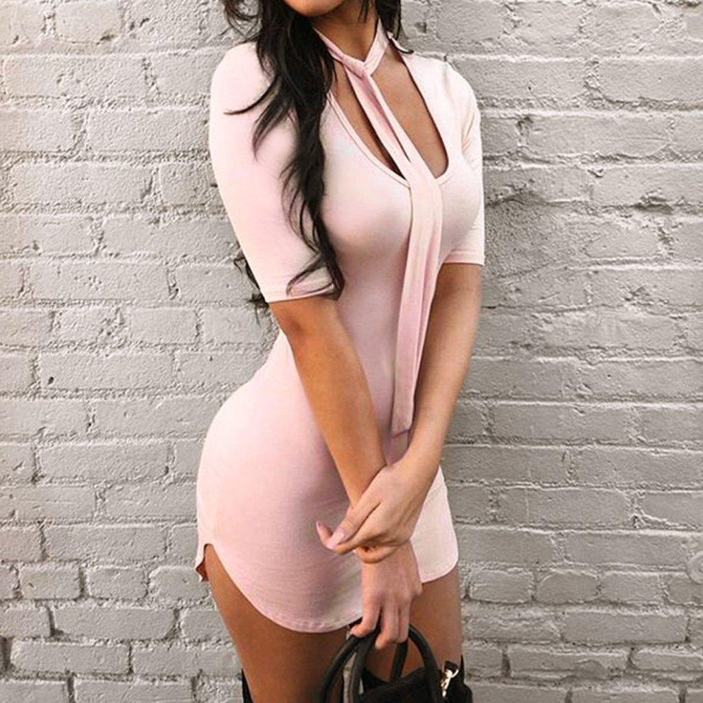 #sexycurves Mini Dress-Women's Mini Dresses-📸 #CrayeLabel-Misty Rose-M-CrayeLabel.com