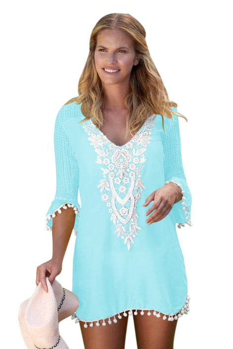 LightAzul Crochet Pom Pom Trim Beach Tunic Cover up